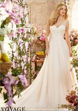 2017 Hot Fashion Simple Tank V Neck Tulle Wedding Dress A Line Ivory Sleeveless Bridal Gowns