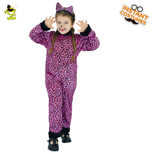 Girls Purple Leopard Costumes attach with Tail Children Animal Cosplay Party Lovely Little Leopard Imitation Fancy Clothing(China)