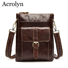 Men Genuine Leather Shoulder Bag Men's Casual Messenger Bags Ipad Handbag