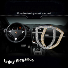 Diomond steering wheel Logo Aluminum alloy decoration frame Set auger cover For porsche 911 macan panamera cayenne car styling