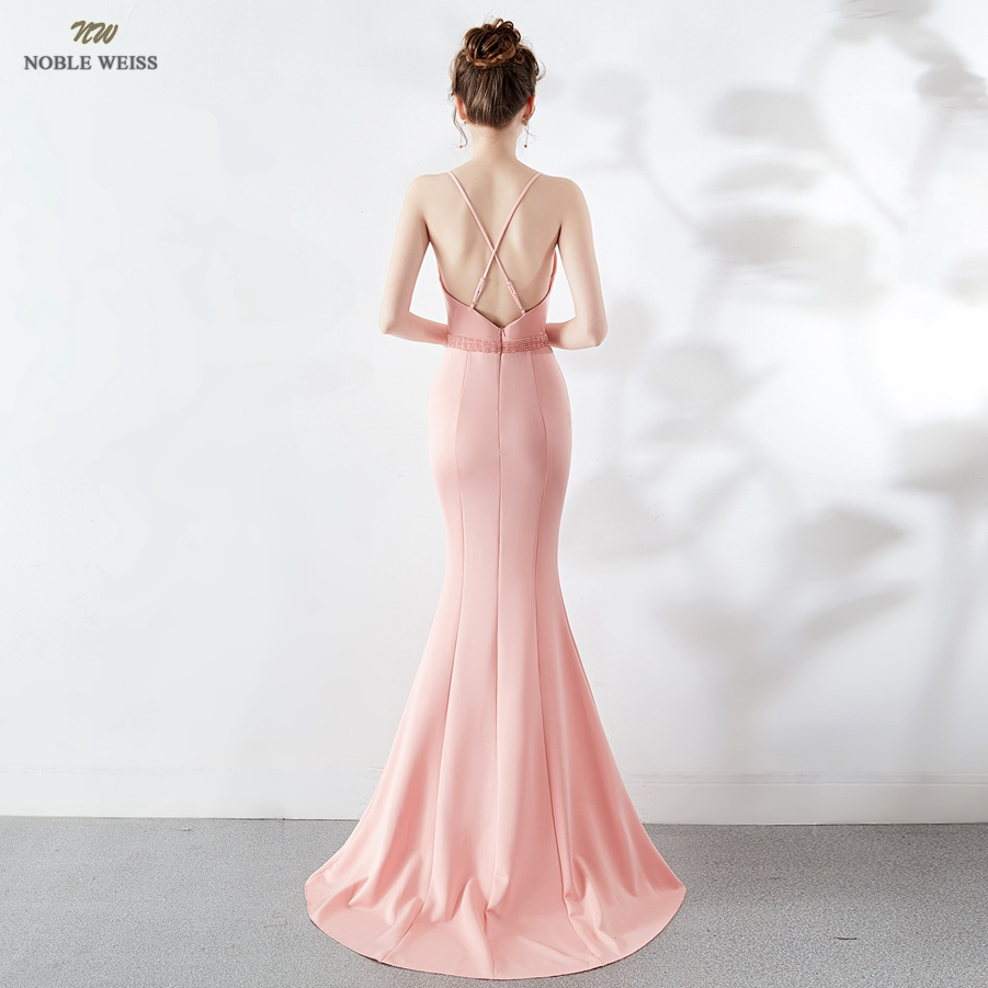 Long V-neck Evening Dresses Sexy Bare Back Mermaid Evening Gowns Front Split Women Formal Dresses With Sweep Train