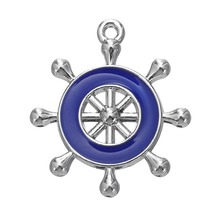 my shape Enamel Blue Pink Ships Wheel Helm Rudder Nautical Charm Rhodium Plated Pendant Necklace Accessories Diy Jewelry