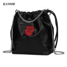 Women Handbags PU Leather Embroidery Flower Women Top-handle Bag Female Shoulder Bags Metal Chains Shoulder Strap Women Bag(China)