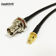 "New RP-SMA  Female Jack To  BNC  Female bulkhead nut Coaxial cable RG58  Wholesale Fast Ship 50CM 20"" for BaoFeng Radio"