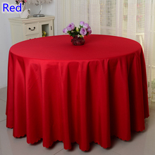 Red colour wedding table cover table cloth polyester table linen hotel banquet party round tables decoration wholesale