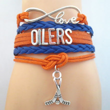 Infinity Love OILERS Hockey Sports Team Bracelet orange blue wristband Customize friendship Bracelets B09400