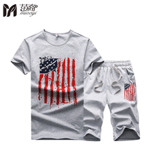 Men's Short Tshirt Sets 2017 Striped Printed Suit Set T Shirts + Shorts Summer Brand Men T-shirt Sets Tracksuit for Men