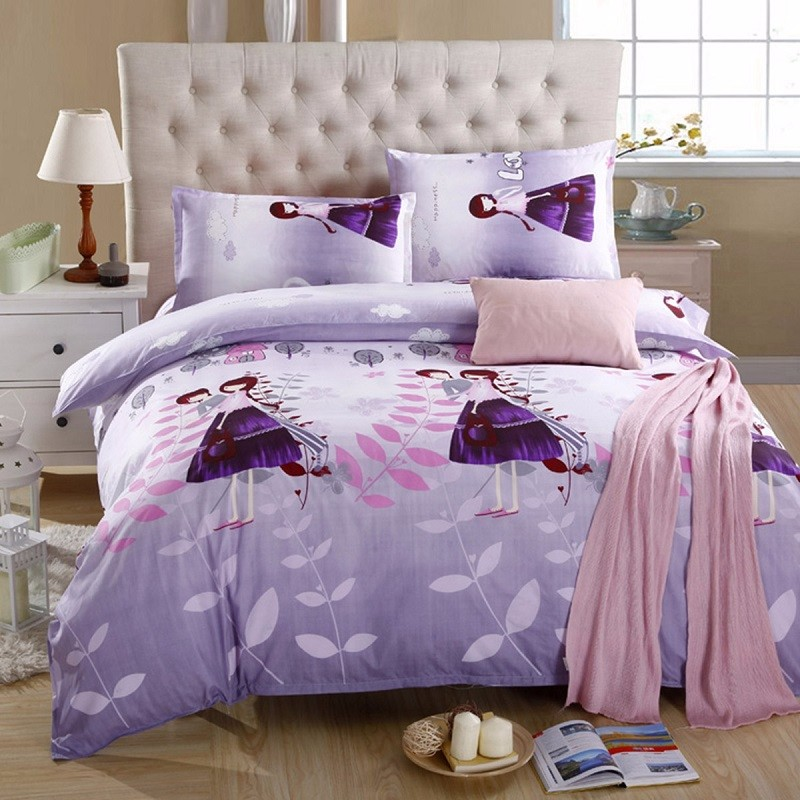 New Purple Print Flower Lovely Duvet Cover Soft Polyester Bedding Sets Bed Sheet Pillowcase Textile Single Double King Size