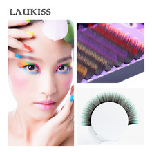 Colorful Eyelashes Extension 12 Lines/tray Rainbow Colored Two Tone Lashes LAUKISS Permanents Cilios Silk Soft Eyelashes Porm
