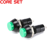 10Pcs/Set PBS-11B Non-locking Round Switch Button 250V/3A Light Switch DIY Touch Switch green