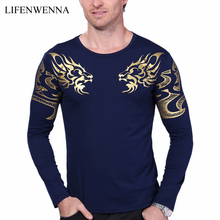 2017 Autumn new high-end men's brand t-shirt fashion Slim Dragon printing atmosphere t shirt Plus size long-sleeved t shirt men(China)