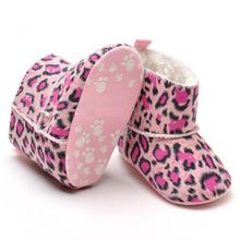2016 best deal newborn baby girl shoes Baby Snow Boots Soft Crib Shoes Toddler  Leopard Boots sapato menina Krystal