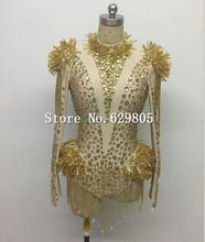 Gold Crystals Pendant Glisten Bodysuit Stage Wear Prom Outfit Long Sleeve Leotard Catwalk Costume Design Party Singer Wear