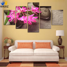 Fashion free shipping red orchid stone background picture canvas painter houses home decoration art on wall no framed FA177