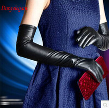 2017 new arrival Ultra long black genuine leather gloves women's gloves soft glove bag long gloves(China)
