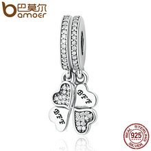 BAMOER 925 Sterling Silver Best Friends Forever, Clear CZ Heart Clover Charms Fit Bracelets & Necklace DIY Jewelry PAS395