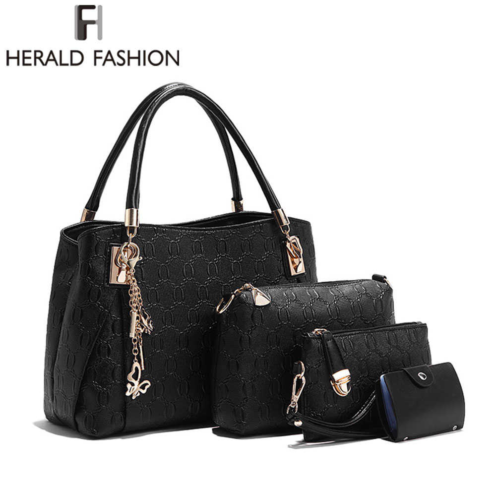 4 Sets Leather Women Shoulder Bag Handbag Lady Messenger Bag Brand Design Tote Top-handle Female Purse sac a main Herald Fashion<br><br>Aliexpress