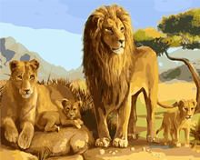 Latest styles Frameless diy oil Painting By Numbers Animals Lion Painting On Canvas Home Decor Home Wall Art Picture Artwork