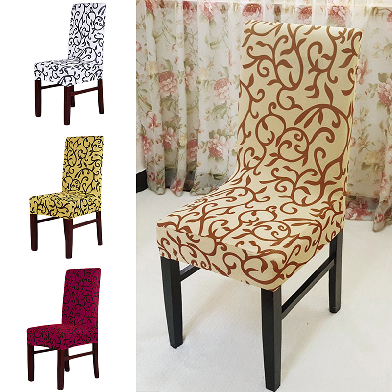 4 Colors Jacquard Polyester Spandex Dining Chair Covers For Hotel Wedding Party Cover Brown