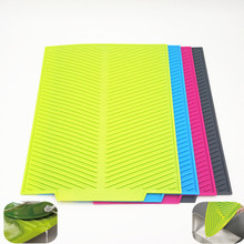 43*33CM Rectangle Extra Large Dish Drying Mat Premium Heat Resistant Silicone Antibacterial Dishwaser Safe Dinnerware Mat