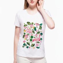 2017 Brand spring and summer Harajuku Flamingo Lotus T shirt Funny Print Short Sleeve Leisure O Neck Shirts Tee wah1(37) #