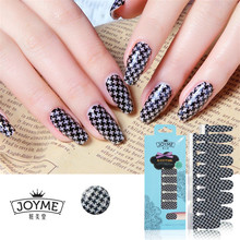 Wholesale 100% Real Nail Polish Strips Sticker 16PCS Nail Art Patch DIY Houndstooth Patterned Nail Decorations(China)