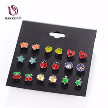 DANZE 9 Pairs Cute Kids baby Stud Earrings Sets Women Small Heart Ladybug Frog Fox Bear Owl Ear Studs children brincos Jewelry
