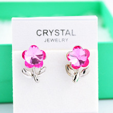Promotion Price Korean Fashion Jewelry Austria Crystal Earrings Rose Red Flower Ear Charming Ladies Gift Stud Earring for Women