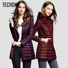 Long Down Jacket Women Winter Down Coats Ultra Light Down Jacket Quilted Hooded Coat Women Duck Downs Jacket Coat(China)