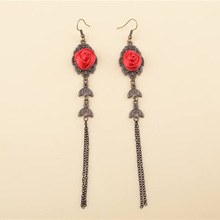 Elegant Gothic Rose Drop Earrings For Women Long Tassel Earring Handmade Big Flower Hollow Dangle Statement Jewelry Accessories(China)