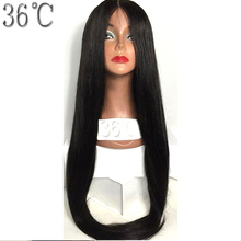 36C Peruvian Full Lace Wigs Silky Straight Hair Glueless Remy Human Hair Wigs With Baby Hair Middle Part adjustable Straps(China)