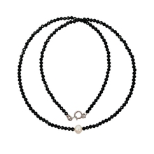 Lii Ji Natural Black Spinel 1-2mm Freshwater Pearl 925 sterling silver 18K Gold Color Choker Shining Necklace(China)