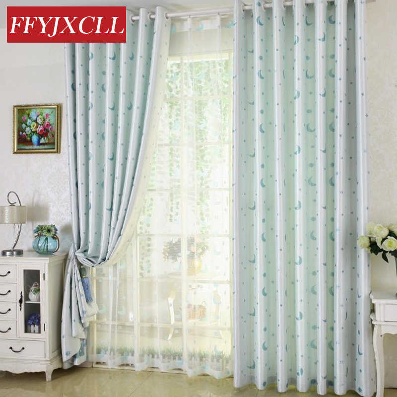 Blue Pink Star Moon Curtains for Children Blackout Curtains for Living Room Bedroom Window Curtains Kitchen White Tulle Drapes
