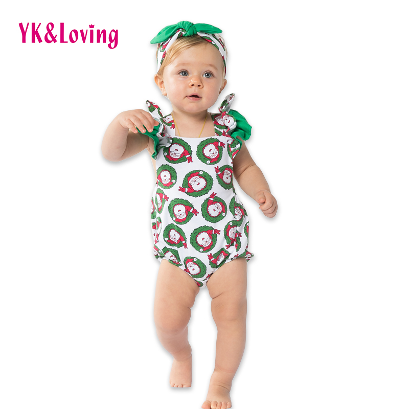 Christmas Novelty 0-2Y Baby Clothes for Girls without Sleeve Santa Claus Print on Romper for Christmas Family Party Summer A<br><br>Aliexpress