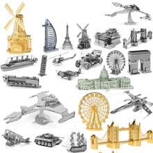2016 New 3D Metal Puzzles for children Model kids Toys For Children/Adult Cartoon Jigsaws Eiffel Tower Ford Car Tank Sky Wheel(China)