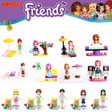 Single Sale Fairy Tale Princess Girl Friends Figures Anna Model Building Doll Sunbathing Piano Blocks Kid Toy Gifts for children