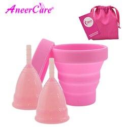 Горячая продажа вагинальная менструальная чашка и стерилизатор чашка стерилизация складные чашки гибкие для очистки перерабатываемые Кем...