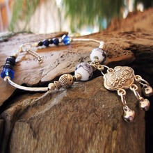 Long Life Symbol Lucky Charm Chinese Longevity Lock Anklet Jewelry Exquisite Blue White Porcelain Bead Mini Bells Ankle Bracelet(China)
