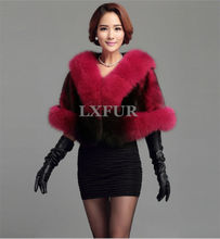 Deluxe Womens Import Denmark Mink Fur Ponchoes with Finland Fox Fur Collar Stoles Elegant Wedding Apparel & Accessory LX00400
