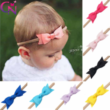 "20 Pieces/lot 2.5"" Hair Bows Nylon Headbands For Kids Girls Chic Handmade Plain Ribbon Layers Bows Hairbands Hair Accessories(China)"