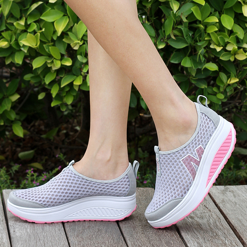 Summer Women Shoes Height Increasing Women Casual Shoes Women Swing Wedges Shoes,  Breather Air mesh Mujer Creepers sapatos<br><br>Aliexpress
