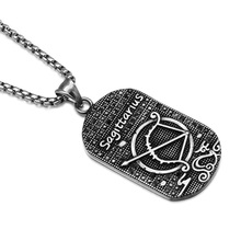 HIP Punk 12 Zodiac Sign Men Sagittarius Charm Necklaces & Pendants Casting Stainless Steel Dog Tags Necklace for Men Jewelry