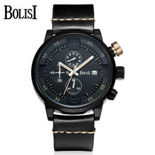 Genuine BOLISI Quartz Watches Men Unique Design Chronograph Functions Watch Sports Style 30M Waterproof Leather Strap Wristwatch