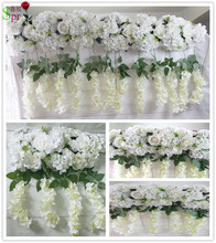 2017 High quality wedding stage arch table runner backdrop flowers wall decoration wholesale artificial flower table centerpiece(China)