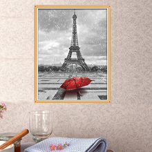 2016 new DIY painting diamond embroidery new color diamond embroidery sewing needle red umbrella and the Eiffel Tower LXQ64