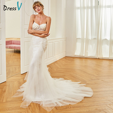 Dressv Long Sweetheart Mermaid Wedding Dress Floor Length Sleeveless Sweep Train Tulle Zipper UP Princess Church Wedding Dresses(China)