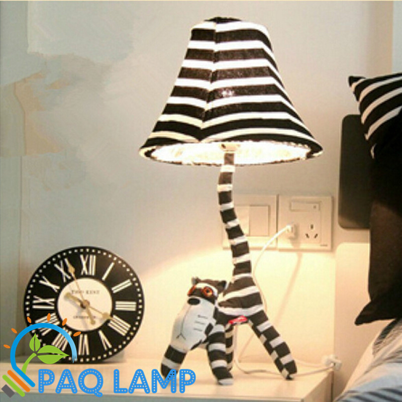 Cartoon table lamp Long face Cats Cartoon animal Fabric shaped kids room bedroom LED lights<br>