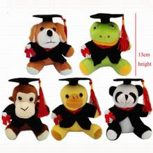 Stuffed Animals Graduation Panda Dog Frog Duck Monkey 13cm Em Plush Toy With Hat and Book Formatura Doctor Panda Soft Dolls