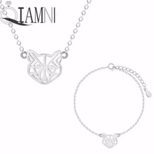 QIAMNI 925 Sterling Silver Geometric Cat Face Animal Necklace Bracelet Wedding Costume Jewelry Set Drop Shipping Gift
