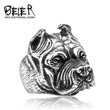 316L Stainless Steel Titanium Animal Pit Bull Dog Ring Men Personality Unique Men's Jewelry BR8-181 US Size(China)